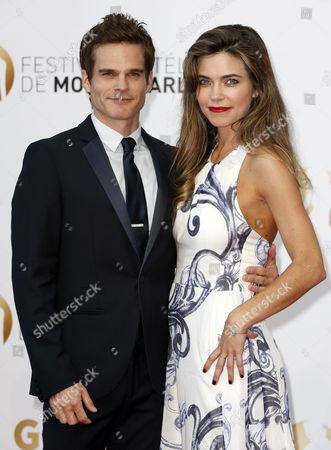 Us Actors Greg Rikaart (l) and Amelia Heinle (r) Pose During the Closing Ceremony of the 54th Monte Carlo Television Festival in Monaco 11 June 2014 Monaco Monaco