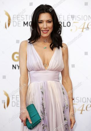British Actress Jaime Murray Poses During the Closing Ceremony of the 54th Monte Carlo Television Festival in Monaco 11 June 2014 Monaco Monaco