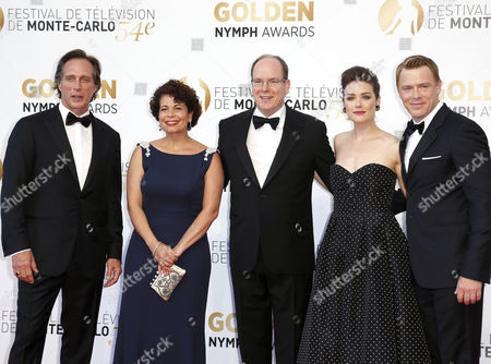 Prince Albert Ii of Monaco (c) Poses with Us Actor William Fichtner (l) German Producer Rola Bauer (2-l) Us Actress Megan Boone (2-r) and Canadian Actor Diego Klattenhoff (r) During the Closing Ceremony of the 54th Monte Carlo Television Festival in Monaco 11 June 2014 Monaco Monaco