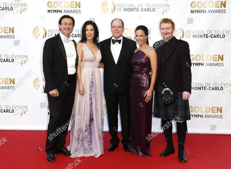 Prince Albert Ii of Monaco (c) Poses with New Zealand Actor Grant Bowler (l) British Actress Jaime Murray (2-l) Us Actress Julie Benz (2-r) and Scottish Actor Tony Curran (r) During the Closing Ceremony of the 54th Monte Carlo Television Festival in Monaco 11 June 2014 Monaco Monaco