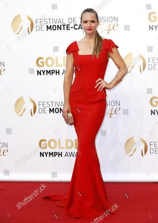 Canadian Actress Andrea Joy Cook Poses During the Closing Ceremony of the 54th Monte Carlo Television Festival in Monaco 11 June 2014 Monaco Monaco
