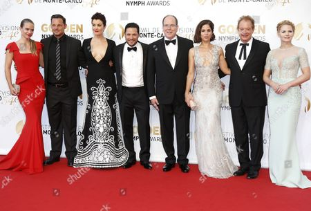 (l-r) Canadian Actress Andrea Joy Cook Us Actor Justin Chambers Us Actress Bellamy Young Us Actor Nick Wechsler Prince Albert Ii of Monaco Us Actress Ana Ortiz Us Actor Jeff Perry and Us Actress Jennifer Morrison Pose During the Closing Ceremony of the 54th Monte Carlo Television Festival in Monaco 11 June 2014 Monaco Monaco
