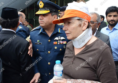 A Norwegian Diplomat Injured in a Helicopter Crash Arrives at the Nur Khan Base in Chaklala Rawalpindi Pakistan 09 May 2015 the Ambassadors of Norway and the Phillipines Were Killed Along with the Spouses of the Indonesian and Malaysian Envoys and Three Crew Members when a Helicopter Crashed 08 May in the Northern Region of Gilgit-baltistan and Their Bodies Recovered From the Crash Site and Brought to Islamabad 09 May Pakistan Rawalpindi