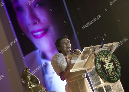 Filipino Actress Nora Aunor Speaks After Receiving the 10th 'U P Gawad Plaridel' a Lifetime Achievement Award to an Outstanding Media Practitioner in Quezon City East of Manila Philippines 27 August 2014 the Petite Actress Whose Entertainment Career Began After Winning a Singing Contest in the 1960s Has Received Dozens of Best Actress Awards at Local and International Film Festivals Since the 1980s Philippines Manila