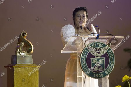 Stock Photo of Filipino Actress Nora Aunor Speaks After Receiving the 10th 'U P Gawad Plaridel' a Lifetime Achievement Award to an Outstanding Media Practitioner in Quezon City East of Manila Philippines 27 August 2014 the Petite Actress Whose Entertainment Career Began After Winning a Singing Contest in the 1960s Has Received Dozens of Best Actress Awards at Local and International Film Festivals Since the 1980s Philippines Manila