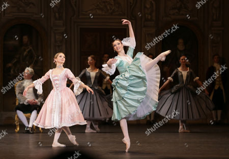 Evgenia Obraztsova (front L) and Olga Smirnova (front R) Dancers of the Bolshoi Ballet Perform During the General Rehearsal of Daniel Auber's Ballet 'Marco Spada' at the Bolshoi Theater in Moscow Russia 07 November 2013 the Ballet in Three Parts Staged by French Director and Choreographer Pierre Lacotte Will Be Premiered on 08 November Russian Federation Moscow