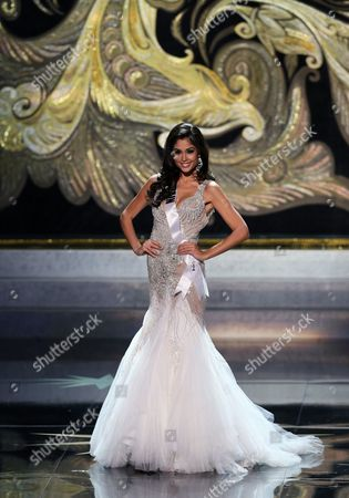 Miss Spain 2013 Patricia Yurena Rodriguez Takes the Stage During the Evening Gown Competition During the 2013 Miss Universe Grand Finale Held at the Crocus City Hall in Moscow Russia 09 November 2013 Gabriela Isler Won the Beauty Pageant Russian Federation Moscow