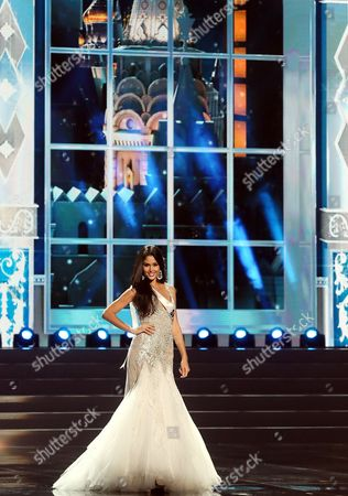 Miss Spain 2013 Patricia Yurena Rodriguez Performs at the Miss Universe 2013 Semi Final Rehearsal in Moscow Russia 05 November 2013 the Final of the 2013 Miss Universe Pageant Will Take Place at the Crocus City Hall in Moscow on 09 November Russian Federation Moscow
