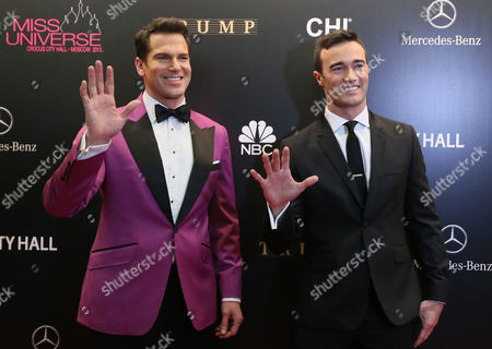 Us Tv Personality Thomas Roberts (l) and His Partner Patrick Abner (r) Arrive For the 2013 Miss Universe Grand Finale Held at the Crocus City Hall in Moscow Russia 09 November 2013 Russian Federation Moscow
