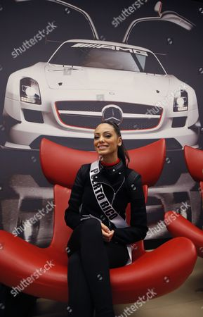 Miss Puerto Rico 2013 Monic Perez Poses For Media Before Amg Test Drive at Mersedes-benz in Raceway Track 90 Km Outside Moscow Russia 28 October 2013 the 2013 Miss Universe Pageant Will Take Place at the Crocus City Hall in Moscow on 09 November Russian Federation Moscow