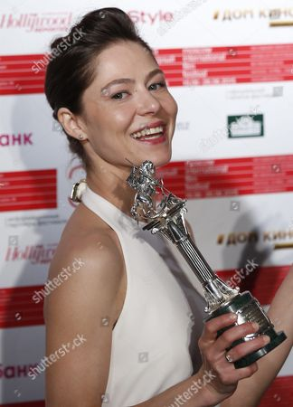 Russian Actress Elena Lyadova Poses with the Silver George Award For the Best Actress During the Closing Ceremony of the 37th Moscow International Film Festival in Moscow Russia 26 June 2015 Russian Federation Moscow
