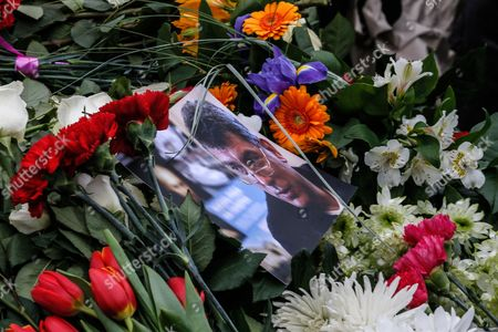 A Portrait of Russian Opposition Leader Boris Nemtsov Lies on Top of Flowers at the Site of His Killing in Central Moscow Russia 28 February 2015 Russian Opposition Leader Boris Nemtsov was Shot Dead From a Passing Car on the Bolshoy Kammeny Bridge in Central Moscow Late in the Evening of 27 February 2015 Nemtsov who Served As a Deputy Prime Minister Under Boris Yeltsin Had Been a Constant Critic of President Vladimir Putin Since He Came to Power in 2000 Since 2013 Nemtsov was a Member of the Parliament Representing the Yaroslavl Region North of Moscow Russian Federation Moscow
