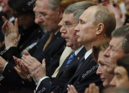 Ioc President Thomas Bach (c) Russian President Vladimir Putin (centre R) and Former Ioc President Jacques Rogge (centre L) Attend the Opening of the 126th Ioc Session at the Zimny Theatre in Sochi Russia 04 February 2014 the Sochi 2014 Olympic Games Will Kick Off on February 7th Russian Federation Sochi