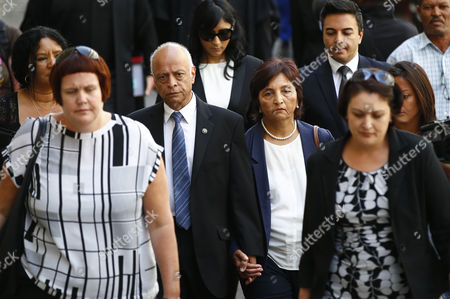 The Parents of British Businessman Shrien Dewani Shila (c-r) and Prakash (c-l) Arrive at the Western Cape High Court Cape Town South Africa 08 December 2014 Judge Jeanette Traverso Dismissed the Case Against Shrien Dewani who was Accused of Masterminding the Murder of His Wife Anni During a Staged Car-jacking on Their 2010 Honeymoon Judge Traverso Said the Evidence Presented by the Prosecution Fell 'Far Below the Threshold' of what a Reasonable Court Could Convict on South Africa Cape Town