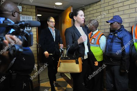 South African Paralympic Athlete Oscar Pistorius' Sister Aimee Pistorius (r) and His Brother Carl Pistorius (c) Arrive at the High Court in Pretoria South Africa 04 March 2014 South African Paralympics Sprint Star Oscar Pistorius is Standing Trial For the Premeditated Murder of His Model Girlfriend Reeva Steenkamp in February 2013 South Africa Pretoria
