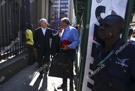 Barry Roux (l) Lawyer of South African Paralympian Oscar Pistorius Arrives at the High Court in Pretoria For the Second Day of Pistorius' Sentencing Murder Trial in Pretoria South Africa 14 October 2014 Pistorius Stands Trial From 03 March For the Premeditated Murder of His Model Girlfriend Reeva Steenkamp in February 2013 South Africa Pretoria