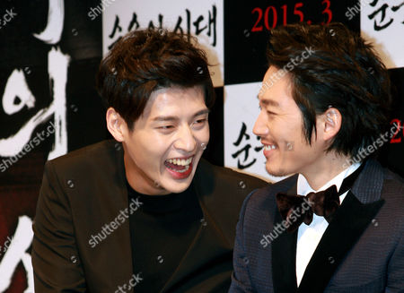 South Korean Actors Kang Ha-neul (l) and Jang Hyuk (r) Share a Laugh During the Presentation of 'Age of Innocence' in Seoul South Korea 03 February 2015 the Movie Will Open in South Korean Theaters in March 2015 Korea, Rebublic of Seoul