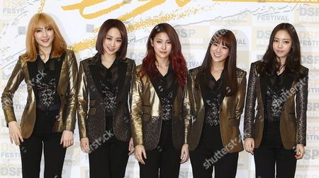 South Korean Girl Group 'Kara' Members (l-r) Kang Ji-young Nicole Park Gyuri Han Seung-yeon and Goo Ha-ra Arrive For the Dsp Festival at the Jamsil Stadium in Seoul South Korea 14 December 2013 Dsp Media is an All Around Entertainment Company Responsible For Music Production Marketing Celebrity Management Distributing Music and More Korea, Rebublic of Seoul