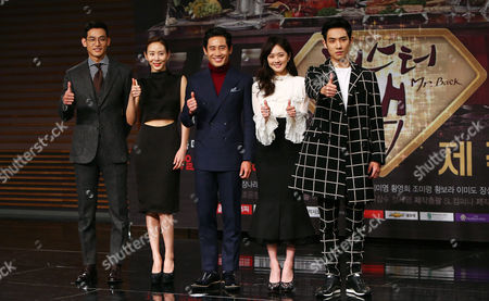 (l-r) South Korean Actors Chung Seok-won Park Yea-jin Shin Ha-kyun Chang Na-ra and Lee Jun Pose During a Production Presentation of the Tv Miniseries 'Mr Back' at Munhwa Broadcasting Corporation (mbc) in Seoul South Korea 03 November 2014 the Drama is Broadcast on 05 November Korea, Rebublic of Seoul