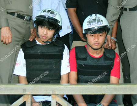 Two Myanmar Migrant Workers Win (left) and Saw (right) Suspects in the Killing of Two British Tourists Attend a Press Conference with Police on the Beach of Koh Tao Island in Surat Thani Province Southern Thailand 03 October 2014 Dna Tests on Two of Three Suspects in the Killing of Two British Tourists Match Those Found on the Victims' Bodies a Police Source Said According to Local Reports the Two Confessed to the Killing of British Tourists David William Miller and Hannah Victoria Witheridge on 15 September 2014 Thailand Koh Tao