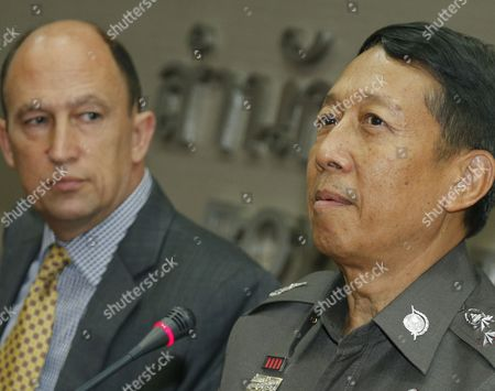 Royal Thai Police Adviser Jarumporn Suramanee (r) and British Consul Michael Hancock (l) Speak to Media on the Two Murdered British Tourists Case During a Press Conference at the Royal Thai Police Headquarters in Bangkok Thailand 18 September 2014 Thai Police Have Closed Off an Island Resort As a Manhunt Continues For the Killer of Two British Tourists One Man Identified As David William Miller and a Woman Hannah Victoria Witheridge Were Found Murdered on a Beach of Koh Tao Island in Surat Thani Province Southern Thailand on 15 September 2014 Thailand Bangkok