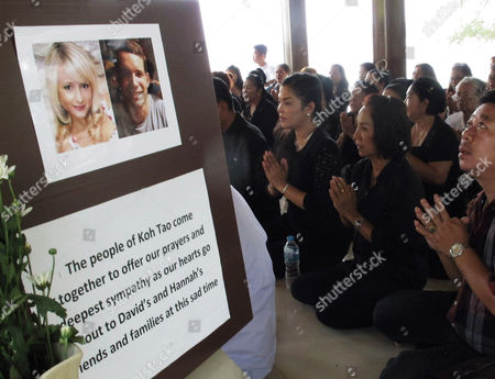 Thai Local Villagers (r) Pray Before Portraits of Two Murdered British Tourists at Koh Tao Resort Island Surat Thani Province Southern Thailand 18 September 2014 Thai Police Have Closed Off the Island Resort As a Manhunt Begins For the Killer of David William Miller and Hannah Victoria Witheridge who Were Found Murdered on the Beach 15 September 2014 Thailand Koh Tao