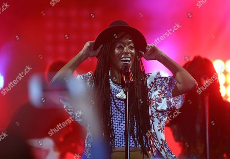 Stock Picture of Us Hip-hop Singer Akua Naru Performs During Carthage Jazz Festival in Tunis Tunisia 16 April 2015 Carthage Jazz Festival Launched in 2005 Draws Some of the Most Famous Names in Jazz From Around the World Tunisia Tunis