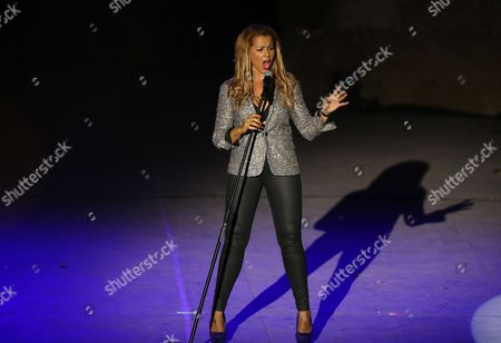 French Singer Chimene Badi Performs During the 50th International Festival of Carthage at the Roman Theater of Carthage in Tunis Tunisia Late 27 July 2014 the Festival Runs Until 16 August Tunisia Tunis