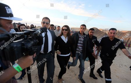 Tunisian Minister of Tourism Amel Karboul (c) Visits the Electronic Dunes Festival in the Ong Jmal Desert in Nefta South Tunis Tunisia 22 February 2014 the Festival Takes Place in the Star Wars Movie's Set Landscape and Runs From 21 to 24 February Tunisia Nefta
