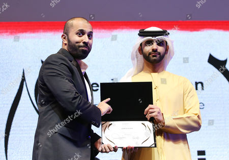 Ritesh Batra (l) Receives From Sheikh Mansour Bin Mohammed Bin Rashid Al Maktoum (r) the Award of Special Mention For the Movie 'The Lunchbox' During the Muhr Awards Ceremony of the 10th Dubai International Film Festival (diff) 2013 in Gulf Emirate of Dubai United Arab Emirates 13 December 2013 United Arab Emirates Dubai