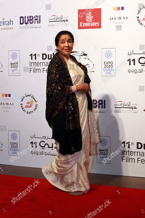 Indian Singer Asha Bhosle Arrives at the Opening Ceremony of the 11th Dubai International Film Festival (diff) 2014 in the Gulf Emirate of Dubai United Arab Emirates 10 December 2014 the Diff Runs From 10 to 17 December Bhosle Will Be Honoured with the Lifetime Achievement Award United Arab Emirates Dubai