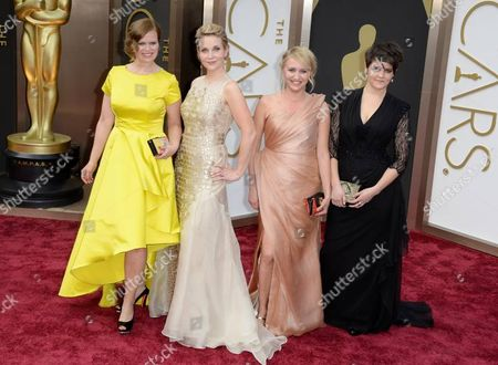 (l-r) Finnish Selma Vilhunen (director) Kirsikka Saari (script) Elli Toivoniemi (producer) and Joanna Haartti (actress)arrive For the 86th Annual Academy Awards Ceremony at the Dolby Theatre in Hollywood California Usa 02 March 2014 They Are Nominated For Best Live Action Short Film Do i Have to Take Care of Everything United States Hollywood