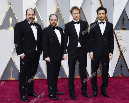 Laszlo Nemes (2-r) Geza Rohrig (r) Producer Gabor Sipos (2-l) and Producer Gabor Rajna (l) Arrive For the 88th Annual Academy Awards Ceremony at the Dolby Theatre in Hollywood California Usa 28 February 2016 United States Hollywood