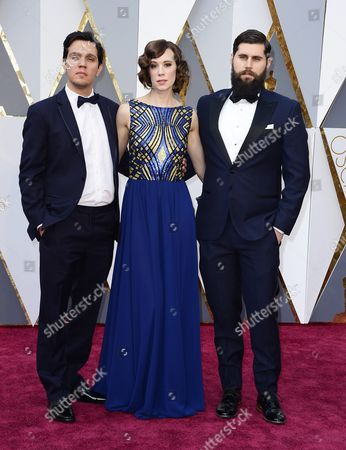 (l-r) Shan Christopher Ogilvie Chloe Pirrie and Michael Paleodimos Arrive For the 88th Annual Academy Awards Ceremony at the Dolby Theatre in Hollywood California Usa 28 February 2016 United States Hollywood