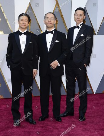 Hiromasa Yonebayashi (c) Yoshiaki Nishimura (r) and Guest For the 88th Annual Academy Awards Ceremony at the Dolby Theatre in Hollywood California Usa 28 February 2016 the Oscars Are Presented For Outstanding Individual Or Collective Efforts in 24 Categories in Filmmaking United States Hollywood