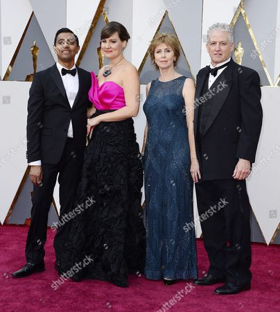 Sanjay Patel (l) and Nicole Grindle (2-r) Arrive with Guests For the 88th Annual Academy Awards Ceremony at the Dolby Theatre in Hollywood California Usa 28 February 2016 the Oscars Are Presented For Outstanding Individual Or Collective Efforts in 24 Categories in Filmmaking United States Hollywood