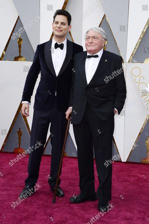 Stock Image of Claude Lanzmann (r) and Adam Benzine (l) Arrive For the 88th Annual Academy Awards Ceremony at the Dolby Theatre in Hollywood California Usa 28 February 2016 the Oscars Are Presented For Outstanding Individual Or Collective Efforts in 24 Categories in Filmmaking United States Hollywood
