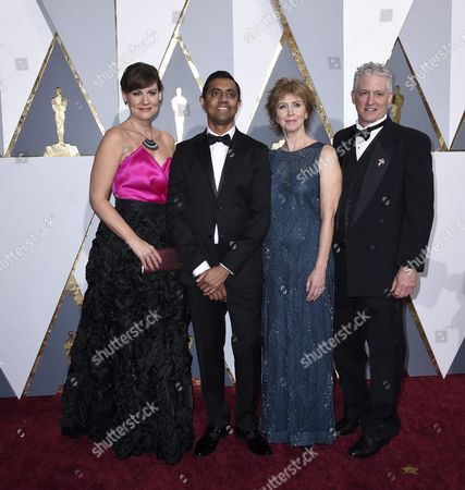 Sanjay Patel (2-l) and Nicole Grindle (l) and Guests Arrive For the 88th Annual Academy Awards Ceremony at the Dolby Theatre in Hollywood California Usa 28 February 2016 the Oscars Are Presented For Outstanding Individual Or Collective Efforts in 24 Categories in Filmmaking United States Hollywood