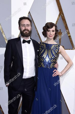 Nominee For Best Live Action Short Film 'Stutterer' Benjamin Cleary (l) and Actress Chloe Pirrie Arrive For the 88th Annual Academy Awards Cremony at the Dolby Theatre in Hollywood California Usa 28 February 2016 United States Hollywood