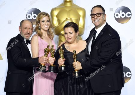 (l-r) Steve Golin Blye Pagon Faust Nicole Rocklin and Michael Sugar Hold Up Their Oscar For Best Picture For 'Spotlight' in the Press Room During the 88th Annual Academy Awards Ceremony at the Dolby Theatre in Hollywood California Usa 28 February 2016 the Oscars Are Presented For Outstanding Individual Or Collective Efforts in 24 Categories in Filmmaking United States Hollywood