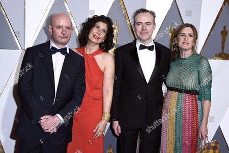 (l-r) Nick Hornby Amanda Posey John Crowley and Finola Dwyer Arrive For the 88th Annual Academy Awards Ceremony at the Dolby Theatre in Hollywood California Usa 28 February 2016 the Oscars Are Presented For Outstanding Individual Or Collective Efforts in 24 Categories in Filmmaking United States Hollywood