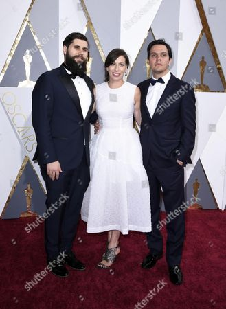 (l-r) Michael Paleodimos Serena Armitage and Shan Christopher Ogilvie Arrive For the 88th Annual Academy Awards Ceremony at the Dolby Theatre in Hollywood California Usa 28 February 2016 United States Hollywood