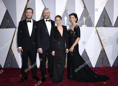 Stock Photo of (l-r) Tobias Lindholm Pilou Asbaek Tuva Novotny and Caroline Blanco Arrive For the 88th Annual Academy Awards Ceremony at the Dolby Theatre in Hollywood California Usa 28 February 2016 the Oscars Are Presented For Outstanding Individual Or Collective Efforts in 24 Categories in Filmmaking United States Hollywood