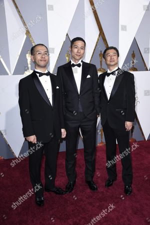 Hiromasa Yonebayashi (l) Yoshiaki Nishimura (c) and Guest Arrive For the 88th Annual Academy Awards Ceremony at the Dolby Theatre in Hollywood California Usa 28 February 2016 the Oscars Are Presented For Outstanding Individual Or Collective Efforts in 24 Categories in Filmmaking United States Hollywood