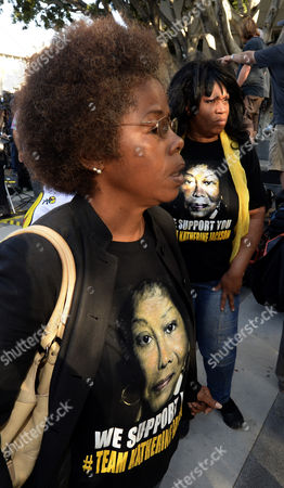 Stock Image of Michael Jackson Supporters Wearing T-shirts with a Picture of Katherine Jackson Stand Outside the Courthouse After Jurors Reached a Verdict and Cleared Aeg Live Entertainment Promoters of Charges of Negligence in the Death of Us Singer Michael Jackson in Downtown Los Angeles California Usa 02 October 2013 United States Los Angeles