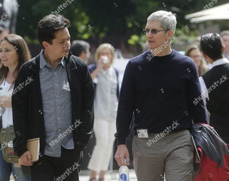 Ben Silbermann Ceo of Pinterest (l) Talk with Apple Ceo Tim Cook (r) During a Break at the Allen and Company 33rd Annual Media and Technology Conference in Sun Valley Idaho Usa 09 July 2015 the Event Brings Together the Leaders of the World's of Media Technology Sports Industry and Politics United States Sun Valley