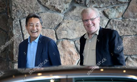 Kazuo Hirai (l) President and Ceo of Sony Corporation and Sir Howard Stringer (r) Former Chairman of the Board and Ceo of Sony Corporation Arrives For Allen and Company 31st Annual Media and Technology Conference in Sun Valley Idaho Usa 09 July 2013 the Event Which Opens on 10 July 2013 Brings Together the Leaders of the Worlds of Media Technology Sports Industry and Politics United States Sun Valley