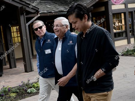 David Zaslav (r) President and Chief Executive Officer of Discovery Communications David Stern (c) Commissioner of the National Basketball Association and Ben Silbermann (l) Ceo of Pinterest Walk the Grounds During Allen and Company 31st Annual Media and Technology Conference in Sun Valley Idaho Usa 11 July 2013 the Event Brings Together the Leaders of the Worlds of Media Technology Sports Industry and Politics United States Sun Valley