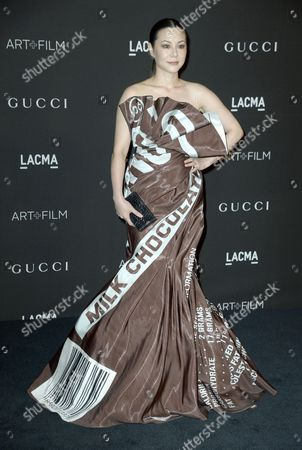 British Actress and Model China Chow Arrives in a Hershey Chocolate Bar Dress For the 2014 Lacma Art + Film Gala at the Los Angeles County Museum of Art (lacma) in Los Angeles California Usa 01 November 2014 the Event Honored Us Artist Barbara Kruger and Us Director Quentin Tarantino United States Los Angeles