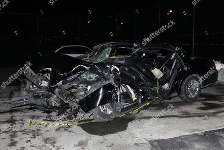 A View of the Crashed Livery Cab where Us 60 Minutes Correspondent Bob Simon was Traveling in New York New York Usa 11 February 2015 Simon 73 a Passenger in a Livery Cab Traveling South on 12th Ave at W 30 St Died on 11 February when the Cab Rear-ended a Mercedes-benz Driven by a 23-year-old Man and Then Slammed Into a Median Around 6:45 Pm Est United States New York